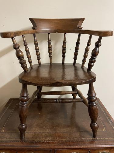 Victorian Ash & Elm Smokers Bow Chair (1 of 8)