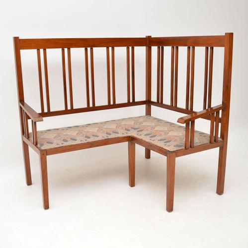Antique Arts & Crafts Solid Walnut Corner Settee from Liberty of London (1 of 11)
