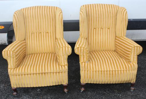 Pair 1940s Mahogany Wingback Armchairs Upholstered in Gold (1 of 3)