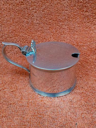 Antique Sterling Silver Hallmarked Mustard Pot & Blue Liner 1933, S Blanckensee & Son Ltd, Birmingham (1 of 10)