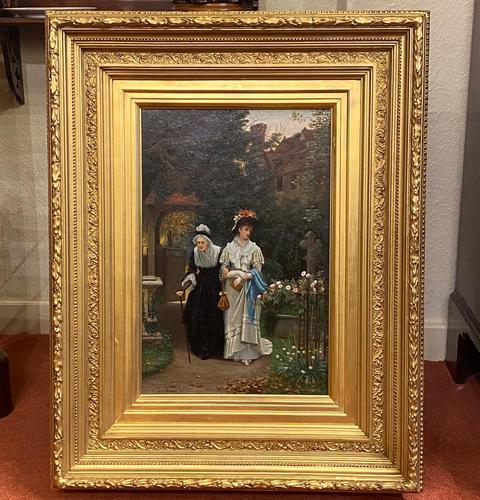 Fine Quality Ornately Framed Oil on Canvas Entitled 'Sunday Best' by Victorian Artist Arthur Langley Vernon (1 of 6)