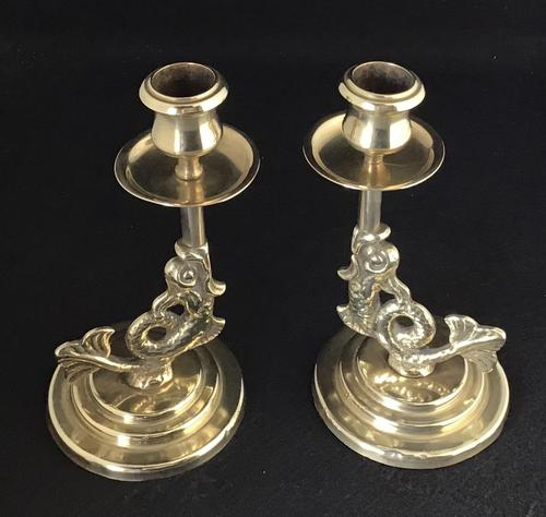 Pair of Antique Serpent Decorated Brass Candlesticks (1 of 5)