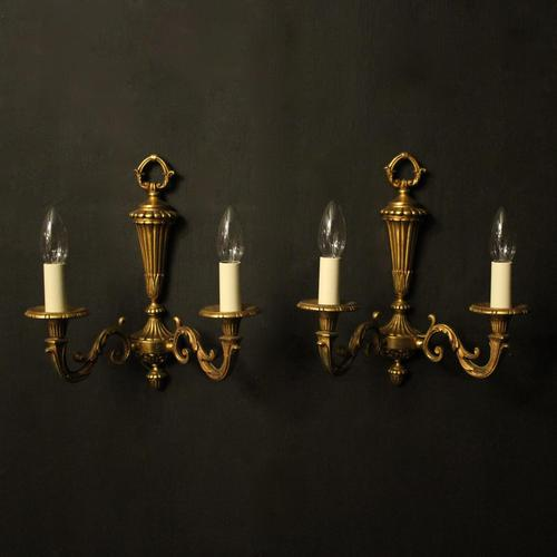 French Pair Of Gilded Bronze Twin Arm Wall Lights (1 of 10)