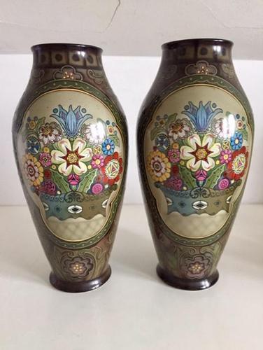 Pair of Large Antique Royal Bonn Vases - Art Nouveau (1 of 9)