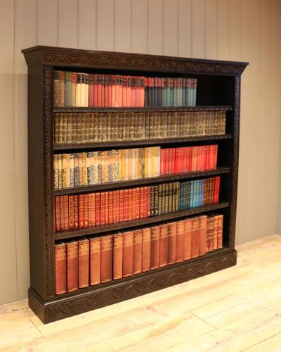 Large Victorian Open Dark Oak Bookcase (1 of 10)