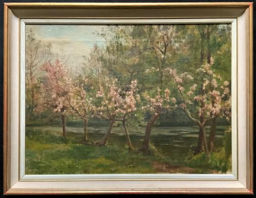 Superb Early 1900s Spring Blossom Riverscape Impressionist Oil Painting (1 of 13)