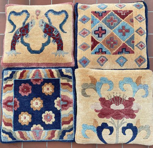 Four Vintage Chinese Carpet Cushion Covers. c1950 (1 of 5)