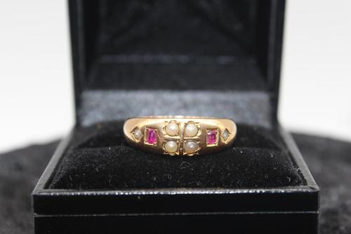 18ct Gold, Ruby & Pearl Ring, size Q, weighing 4.2g (1 of 7)