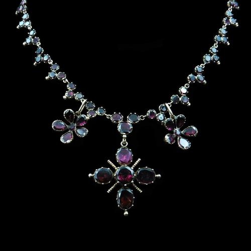 Antique Georgian Flat Cut Garnet 15ct Gold Full Riviere Necklace with Pansy Drops & Cross (1 of 9)
