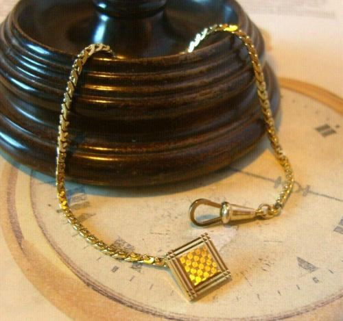 Antique Pocket Watch Chain 1930s Art Deco 12ct Gold Plated With Button Hole Fob (1 of 8)