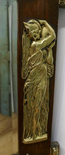 Large Napoleon III French Brass and Fruitwood Mirror (1 of 7)