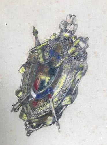 Original Mixed Media Design for a Scottish Broach Turn of the 19th Century Framed (1 of 2)
