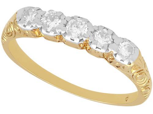 0.30ct Diamond & 14ct Yellow Gold, Five Stone Ring - Antique c.1920 (1 of 9)