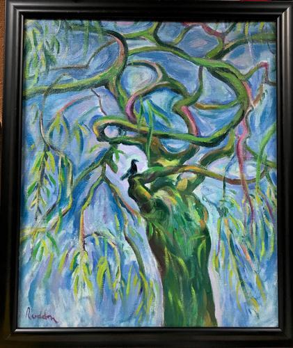 Original oil painting 'Blackbird resting' by Guy Roddon 1919-2006. c. 1970. Framed (1 of 1)