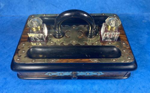 Victorian Brassbound Walnut Inkstand (1 of 16)