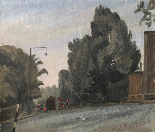 Original Oil on Canvas 'Roadworks Hampstead, Aug 1947 by Ann Spalding (1 of 4)