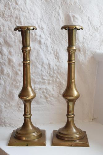 18th Century Georgian Brass Candlesticks (1 of 10)