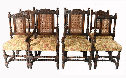 Set of 8 Oak Dining Chairs Barley Twist Farmhouse Diners (1 of 13)