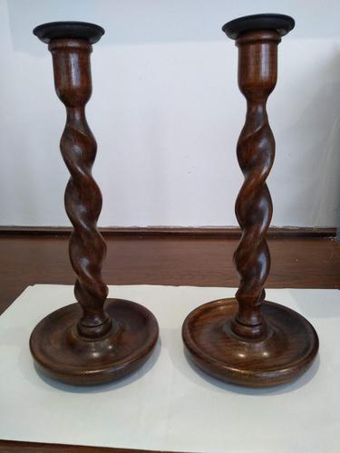 A Pair Of Georgian Barley Twist Candlesticks (1 of 4)