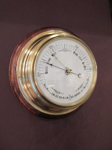 Antique Brass Bulkhead Marine Barometer (1 of 6)