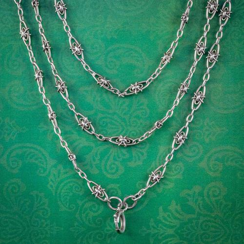 Antique Victorian French Guard Chain Necklace Silver Circa 1900 (1 of 7)