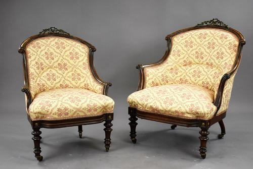 Victorian Rosewood Ladies & Gents Armchairs (1 of 22)