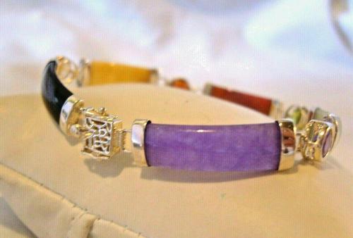 """Vintage Silver & Jade Bracelet 1970s Multi Colour Jade & Gem Panels 7 3/4"""" Length (1 of 12)"""