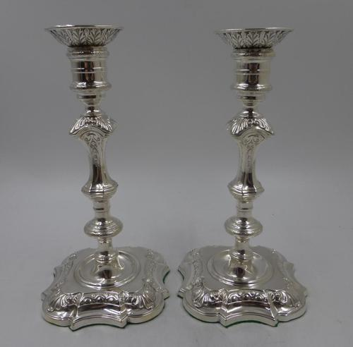 Pair of Antique Edwardian Silver Candlesticks Sheffield 1903 (1 of 8)