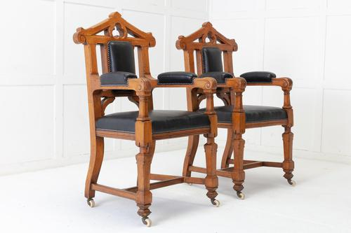 Late 19th Century Pair of Gothic Oak Armchairs (1 of 10)