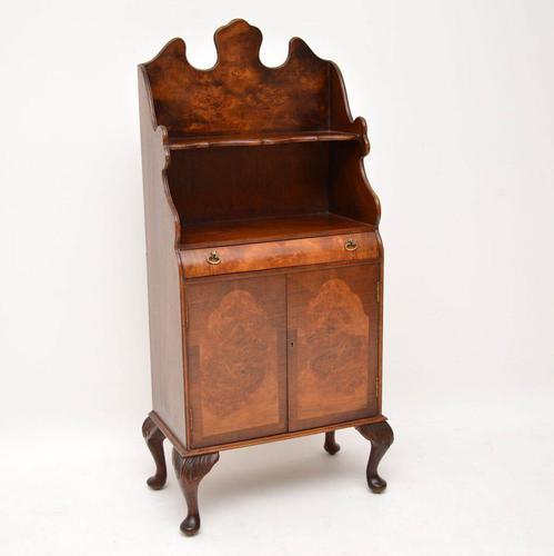 Antique Burr Walnut Open Bookcase Cabinet (1 of 8)