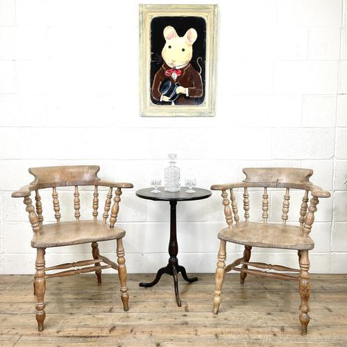 Pair of Antique Smoker's Bow Chairs (1 of 10)