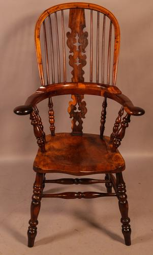 Superb Yew Wood Broad Arm Windsor Chair Worksop maker (1 of 5)