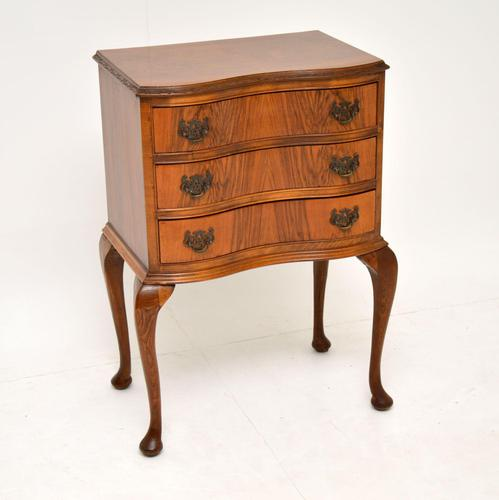 Antique Figured Walnut Side Table with 3 Drawers (1 of 7)