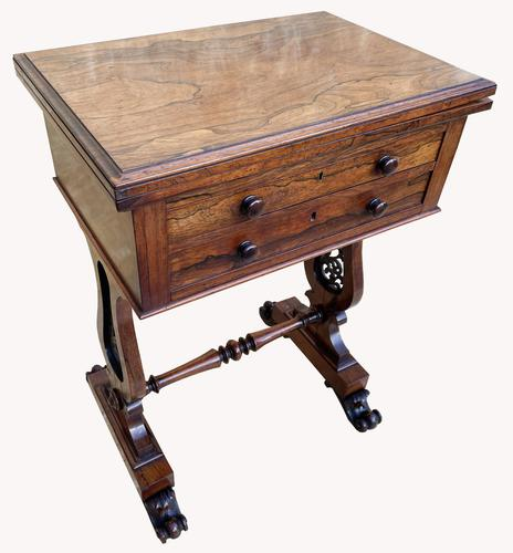 Lovely William IV Rosewood Card & Work Table (1 of 9)