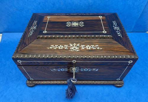 William IV Rosewood Sarcophagus Box with Inlay (1 of 13)