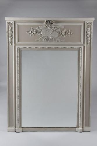 Large 19th Century French Painted Trumeau Overmantle Mirror (1 of 7)