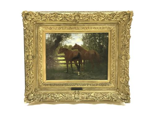 'Horses in a paddock on a summer's day' by Jean Richard Goubie 19th Century (1 of 5)