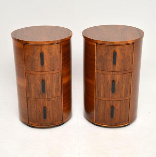 Pair of Art Deco Walnut Bedside Chests (1 of 13)