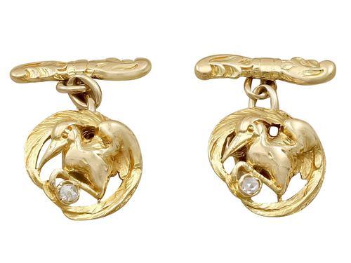 18ct Yellow Gold 'Bird' Cufflinks - Antique c.1900 (1 of 9)