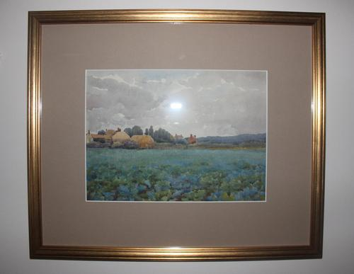 Antique Original Watercolour - Hamlet with Crop Field - Mary Sophia Godlee '1860-1932' (1 of 6)