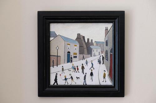 Naive Industrial Street Scene Oil on Board by Walker Scott (1 of 9)