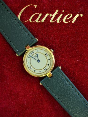 Cartier Ladies Vendome Wristwatch Green Strap (1 of 3)