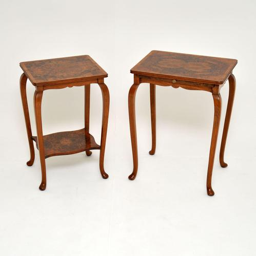 Pair of Matched Burr Walnut Edwardian Side Tables (1 of 10)