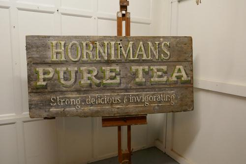 """Large Painted Wooden Advertising Sign, """"HORNIMAN'S PURE TEA"""" (1 of 8)"""