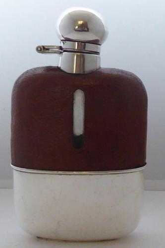 Silver Plated Palm Leather Bound Glass Hip Flask James Dixon 5/16 Pt c.1910 (1 of 12)