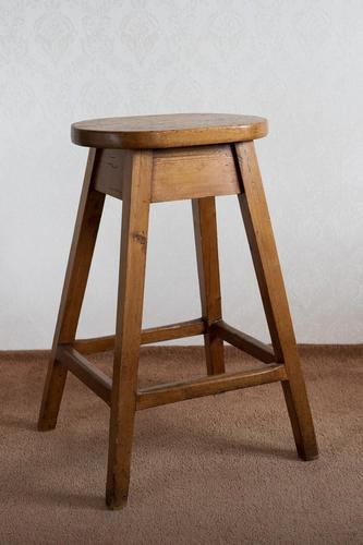 Late 19th Century Stool in Solid Pine (1 of 3)