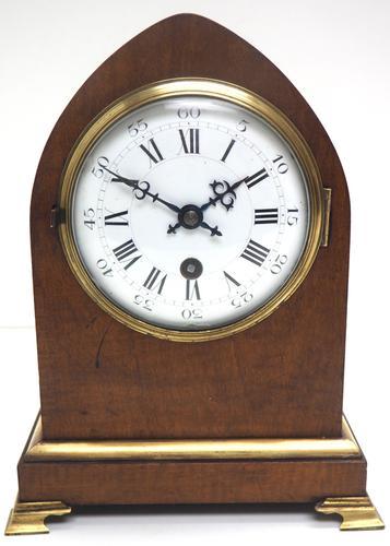 French Lancet Walnut Mantel Clock 8-day Front Wind Mantle (1 of 10)