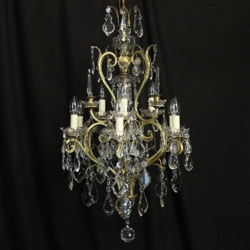 French Gilded & Crystal 10 Light Birdcage Antique Chandelier (1 of 10)