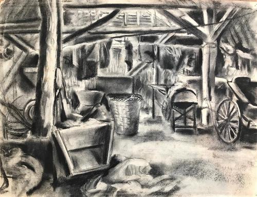 Original black and white chalks drawing 'Inside the Mill' by Toby Horne Shepherd 1909-1993. C.1950. Signed bottom left (1 of 1)
