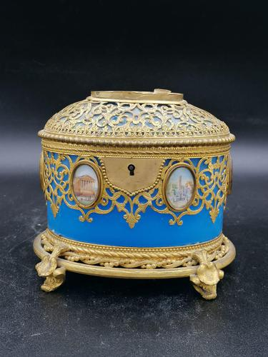 Exclusive Large Box / Box in Blue Opaline Glass with Miniatures from Paris / Palais-Royal (1 of 7)